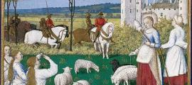 Saint Margaret and Olybrius. Margaret herds sheep when Olybrius arrives by Fouquet 15th Century.