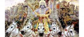 Krishna driving a chariot with Arjun behind in Mahabharata