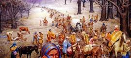 "Max D. Stanley's painting ""The Trail of Tears."""