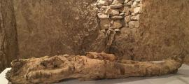 The newly-discovered mummy from a tomb in Luxor.