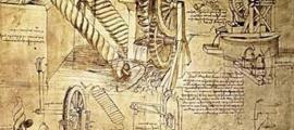 Sketches of inventions by Leonardo da Vinci