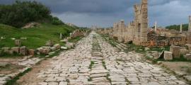 An ancient Roman road at Leptis Magna, Libya