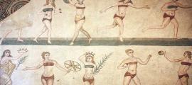 Mosaic of the 'bikini girls' from the Villa Romana del Casale, Piazza Armerina, Sicily.