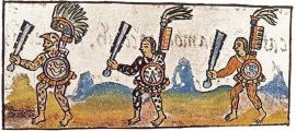 An Eagle warrior (left) depicted holding a machahuitl (a wooden sword with obsidian blades) in the Florentine Codex.