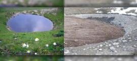 Photos of the Ice Age lake Dipsiz in Turkey before (Hurriyet Daily News) and after (Daily Sabah) the archaeological excavations.