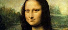 Detail of Leonardo da Vinci's famous painting, The Mona Lisa. It now hangs in the Louvre in Paris.