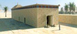 Reconstruction of what the monument in the Siwa Oasis would have once looked like