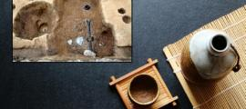 Main: Traditional Japanese Sake. Credit: kathayut / Adobe Stock Inset: Remains of a sake brewery dating from the Muromachi period in Kyoto            Source: Kokusai Bunkazai Co.