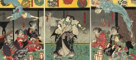 The print depicts a samurai fighting snakes, which are conjured by a ghost as the ghosts of Heian court ladies watch. Japan, 1850.