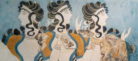 """Ladies in Blue"" fresco at Knossos Palace, Minoan archaeological site in Crete, Greece."