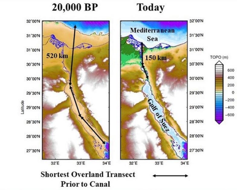 Sea level surrounding the Isthmus of Suez at the Last Glacial Maximum (20,000 years ago) versus today. Note that the Gulf of Suez was dry land 20,000 years ago, making the portage 3 1/2 times as long as today's crossing. (Image: Jerry Dobson/ Geographical Review)