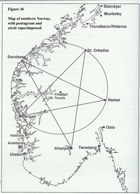 Who may have created a symbolic pentagram in Norway? (From The Viking Serpent by Harald S Boehlke)
