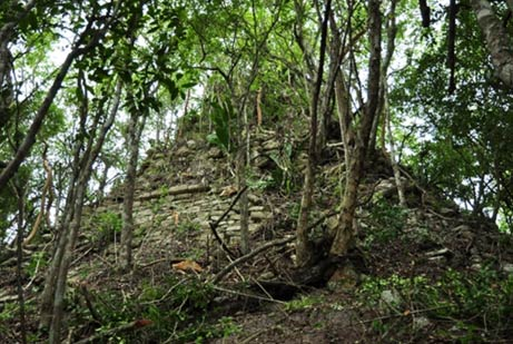 The remains of a temple pyramid in the ancient Mayan city of Lagunita