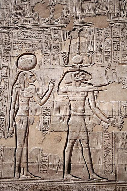 The temple of Khnum, Esna - wall carving shows Khnum and Menhit. (CC BY SA 3.0)