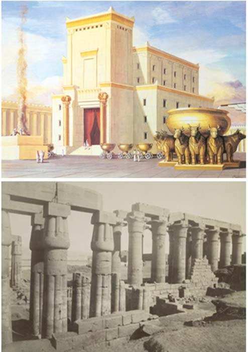 Top: Artistic interpretation of Solomon's Temple. Bottom: Temple of Amenhotep III, Luxor, Egypt.