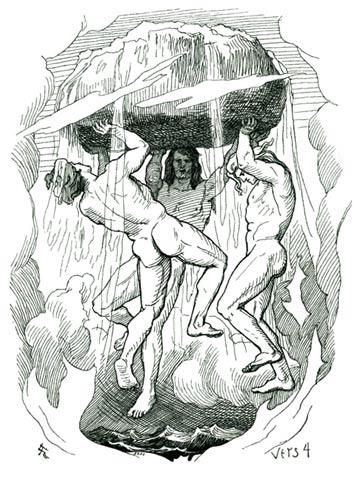 A depiction of Óðinn, Vili, and Vé (Odin, Vile, and Ve) creating the world by Lorenz Frølich.