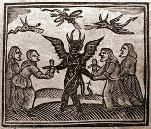 This image, from the Agnes Sampson trial in 1591, depicts The Devil giving witches magic dolls.