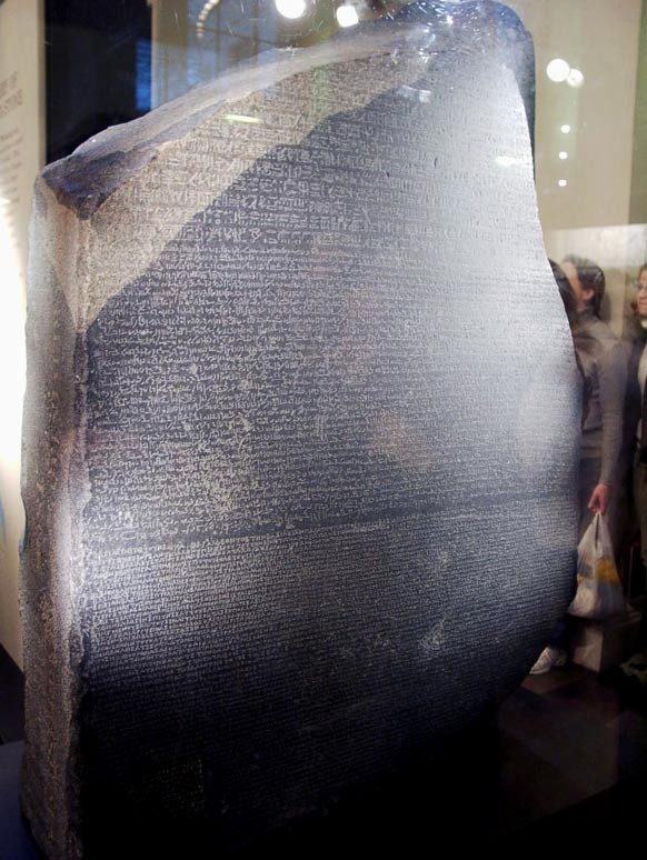Researchers into the Indus script hope someday to find a thunderbolt similar to the Rosetta Stone, which had both previously undeciphered hieroglyphics and their translation into ancient Greek, which helped a great deal in unraveling the ancient Egyptian script.