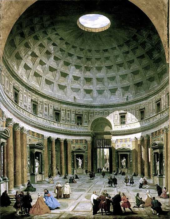 The interior of the Pantheon (Roma) by Giovanni Paolo Panini