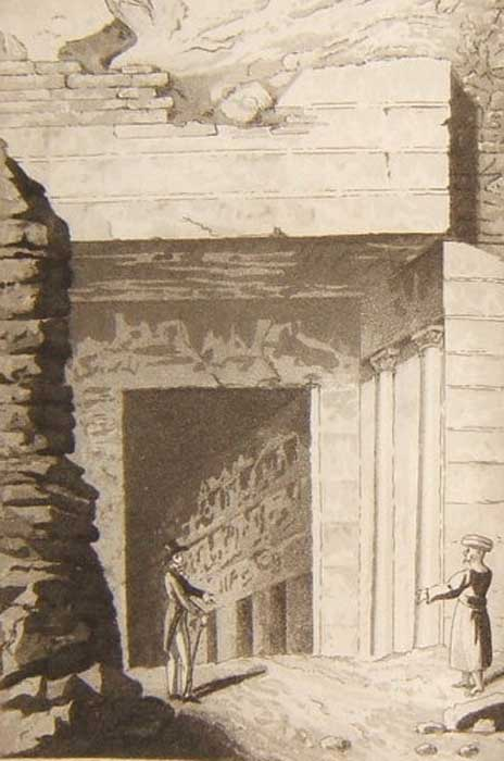 """Entrance to one of the Royal Tombs at Thebes"" from a book by Édouard de Montulé (1821)."