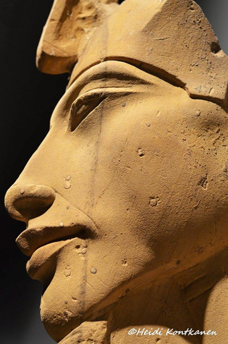 Detail of the beautifully sculpted face of one of Akhenaten's colossal statues that was purposefully wrecked at Karnak Temple, when the shrines and sanctuaries he had dedicated to the Aten were dismantled during the Amarna backlash. Luxor Museum.