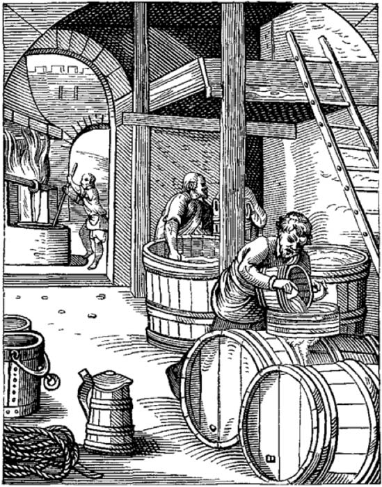 The Brewer, designed and engraved in the Sixteenth Century, by Jost Amman. (Public Domain)