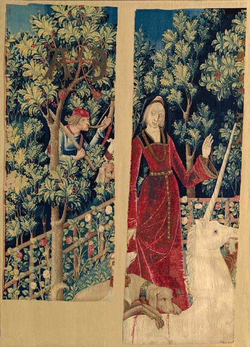 The fifth tapestry of the Unicorn Tapestries - The Unicorn is Captured or The Unicorn is Tamed and Betrayed by the Maiden. (The Public Domain Review / Public Domain)