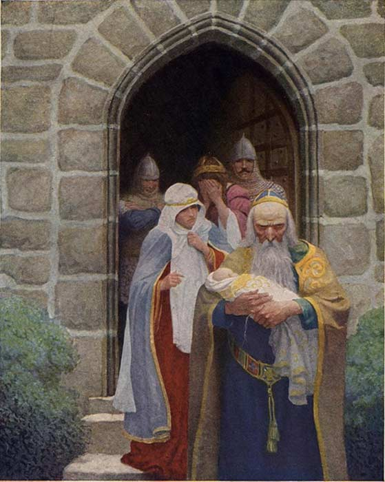 "Illustration: Merlin taking away the infant Arthur - ""So the child was delivered unto Merlin, and so he bore it forth."""