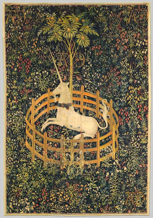 The seventh tapestry of the Unicorn Tapestries - The Unicorn in Captivity. (The Public Domain Review / Public Domain)