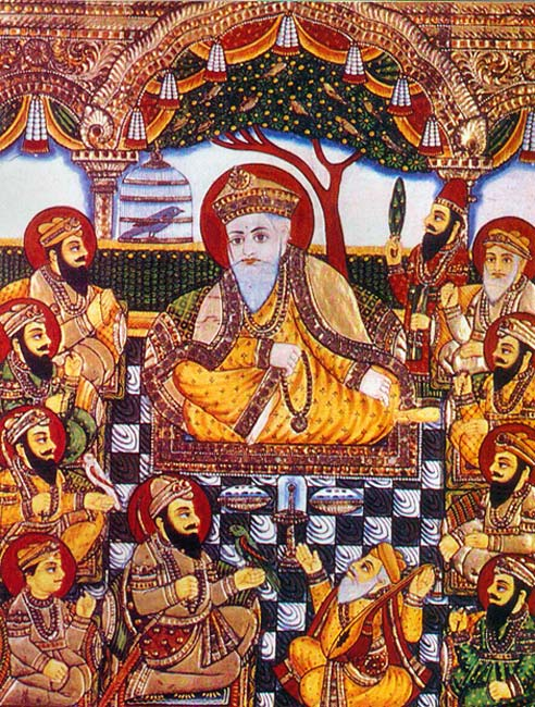 A rare Tanjore-style painting from the late 19th century depicting the ten Sikh Gurus.