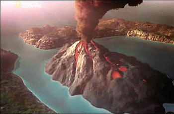 A depiction of the volcanic eruption of Thera