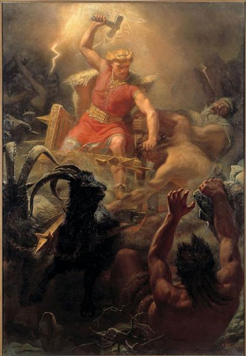 Thor's Battle against the Jötnar (1872) by Mårten Eskil Winge.