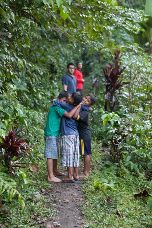 Our three young guides, who lead us to the river Pastaza