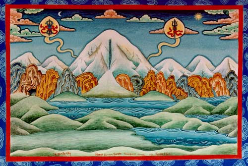 Tibetan and Nepalese Thangka depicting Mount Kailash