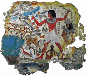 Hunting in the marshes (fragment), tomb chapel of Nebamun