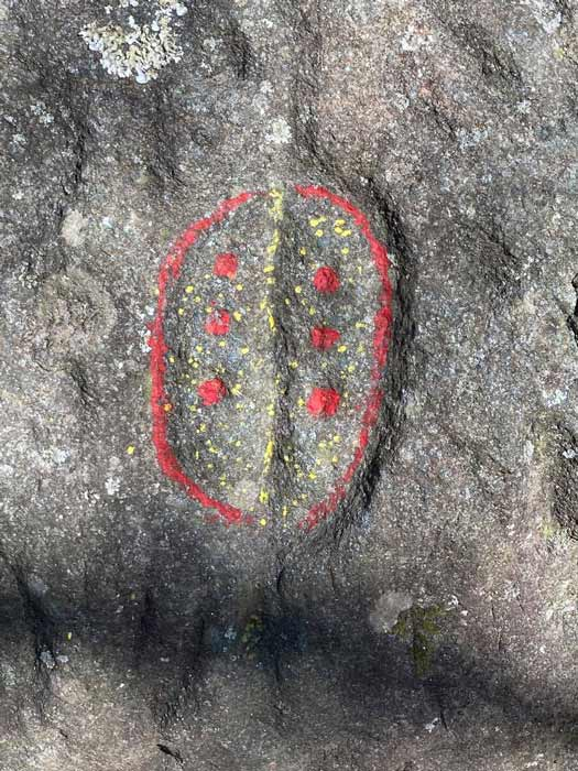 A bit of a touch up? Vandals painted on existing stone carvings in Georgia's Trap Rock Gap. (U.S. Forest Service - Chattahoochee-Oconee National Forests)