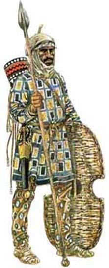 A depiction of the traditional clothing, weaponry, and armor of an Achaemenid soldier
