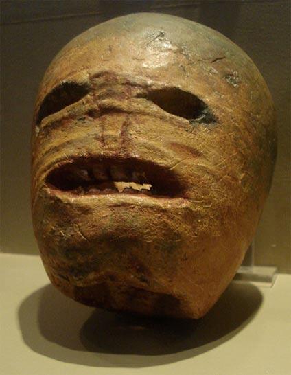 A traditional Irish turnip Jack-o'-lantern