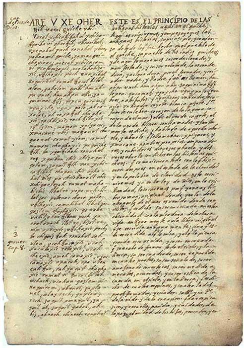An 18th century translation of the Popol Vuh