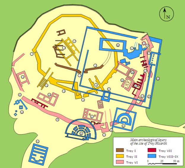 Plan of the archaeological site of Troy/Hisarlik