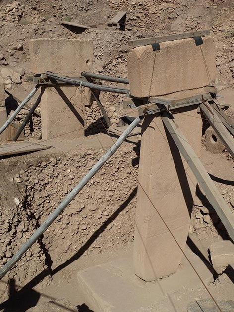 The twin central pillars at the center of Göbekli Tepe's Enclosure D. (Credit: Andrew Collins)
