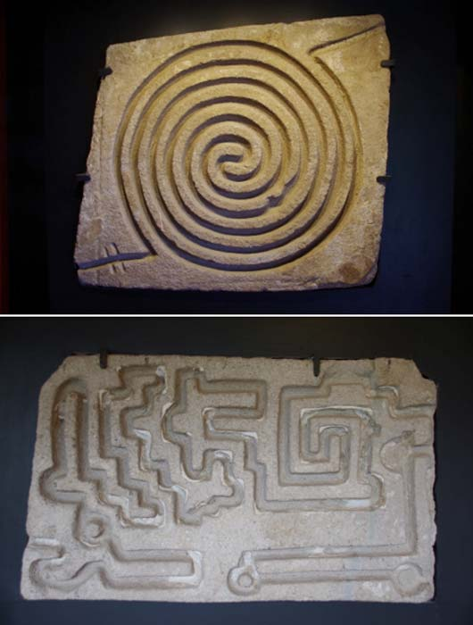 A detail of two large flagstones with enigmatic carvings from the area of the Temple of Tlaloc, on the opposite side of a deep ravine from the main ceremonial site. The function of these stones is unknown, but it is possible that water was meant to flow through the labyrinthine spiral carvings on the stone, perhaps for magical or divinatory purposes. (© Marco Vigato)