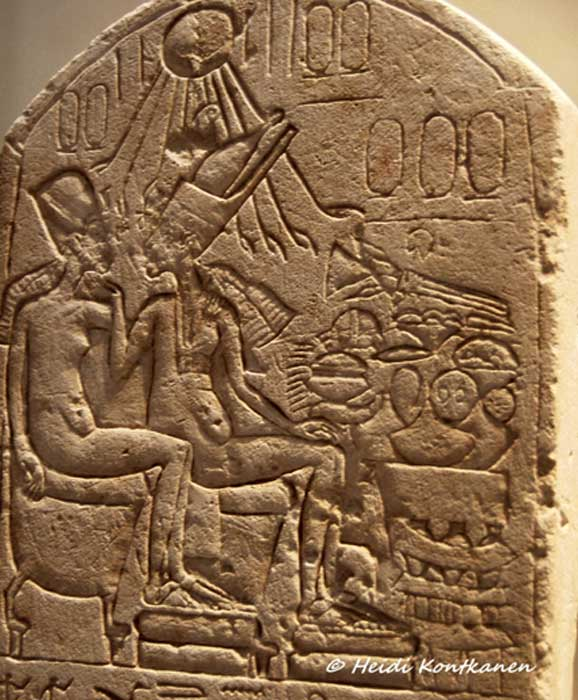 "The controversial, unfinished stele dedicated by Pasi/Pay shows two Amarna kings in an affectionate pose—long thought to depict Akhenaten and Nefertiti in her ""quasi-kingly"" status, wearing the double crown of Egypt. Neues Museum, Berlin."