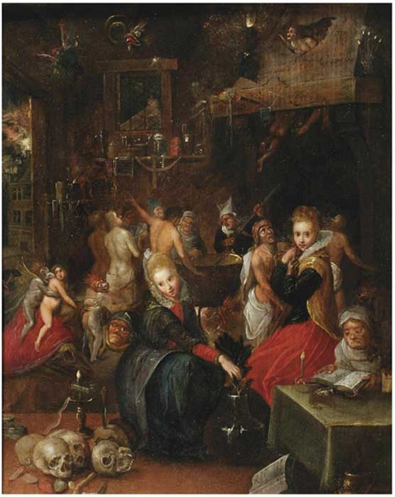 A variety of witch types portrayed in Frans Francken The Younger's (Belgain), Witches' Sabbath, 1606, Victoria and Albert Museum, London.