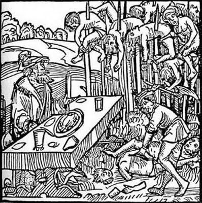Vlad III dining among the impaled corpses
