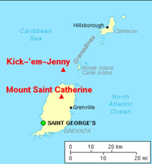 Location map of submarine volcano Kick-'em-Jenny.
