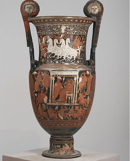 A volute krater that functioned as a funerary marker.  The scene shows Hermes waiting to guide the deceased to the underworld. Walters Art Museum, Baltimore. (c. 320-310 BC) By the Baltimore Painter.