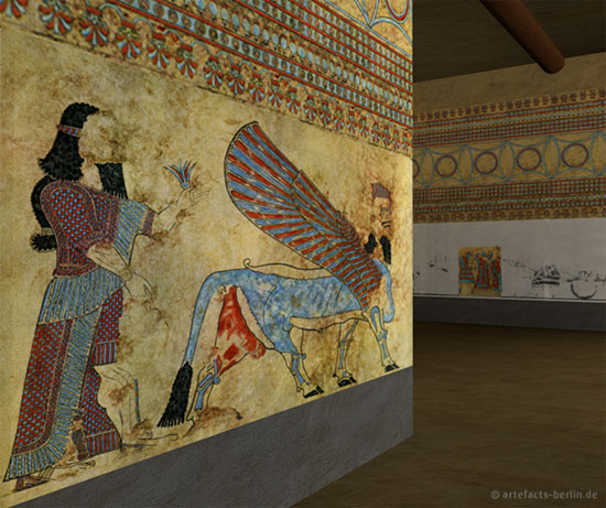 A reconstructed wall painting in Til Barsib, modern Tell Ahmar, Syria