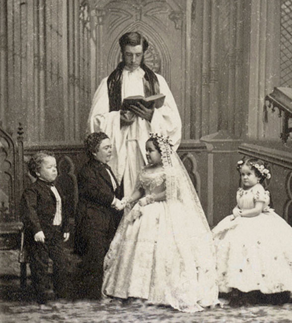 Charles Sherwood Stratton and Lavinia Warren wedding photo. (Public Domain)