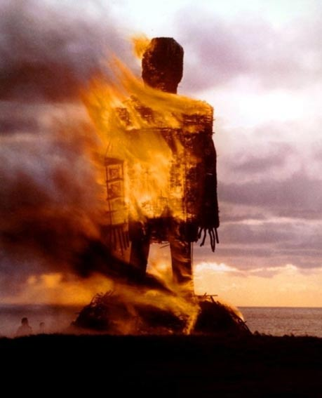 Burning a modern wicker man.